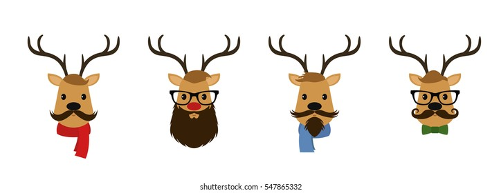 Set of four reindeer dressed like hipsters