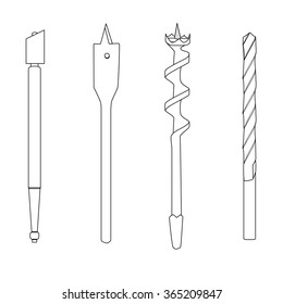 Set of four repair tools (double-twist auger bit, glass-cutter, solid centre auger bit, spade bit, twist bit), outline illustration for web or typography (magazine, brochure, flyer, poster), EPS 10.