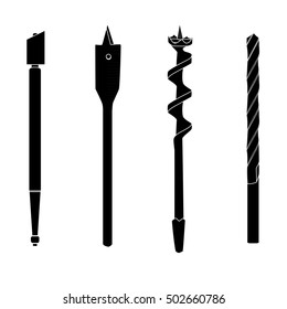 Set of four repair tools, double-twist auger bit, glass-cutter, solid centre auger bit, spade bit, twist bit, silhouettes with white details. Illustration for web or typography.