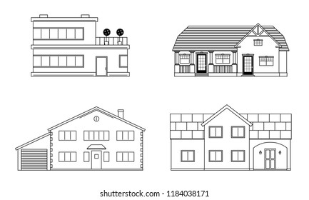 Set of four residention houses. Living cottage set. Apartament building. Home facade with doors and windows. Real estate buildings. Vector illustration.