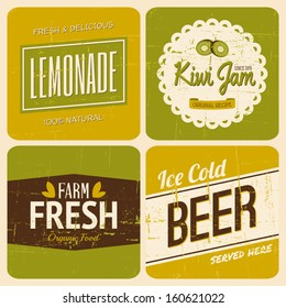 A set of four retro packaging designs for lemonade, kiwi jam, beer and farm fresh products.