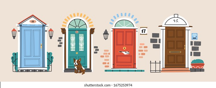 Set of four retro vintage Front Doors. Brick wall. Lamp on a wall. Windows. Sitting bulldog. House Exterior. Home Entrance. Hand drawn colored vector illustration. Isolated on a beige background