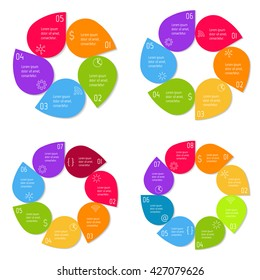 Set of four round connected infographic diagrams with 5, 6, 7, 8 options. Isolated paper sequence banners for tutorial. EPS10 progress steps templates.