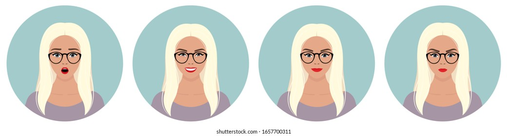 A set of four round female avatars with different emotions: joy, happiness, smile, surprise, anger. Young European blonde woman with long curly white hair in glasses and in a violet dress.