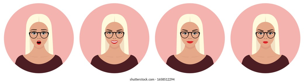 A set of four round female avatars with different emotions: joy, happiness, smile, surprise, anger. Young European girl with long straight blond hair wearing glasses and purple clothes.