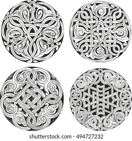 Set of four round knot decorative patterns in classic artistic style for illustrative purposes