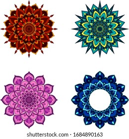 Set of four round mandalas for greeting card, invitation, Henna drawing and tattoo template. Vector illustration