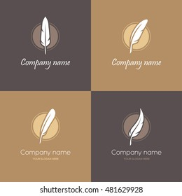 Set of four round symbols with feathers in brown and golden colors. Can be used as logo for law firm, lawyer or writer, literary or educational concepts, etc.