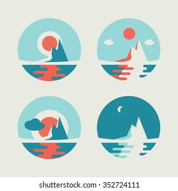 Set of four round vector abstract icons with sun over the island