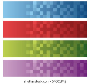 set of four rounded squares texture for headers or footers