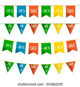Set of four sale flag banners in flat design.