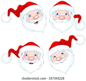 Set of four Santa Claus Face Expressions