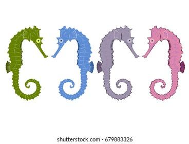Set of four seahorses