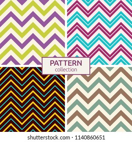 Set of four seamless fashion zigzag patterns. Abstract geometric shapes patterns. Retro, pastel colors. Zigzag color lines. Colorful chevron patterns. Herringbone patterns. Vector backgrounds.