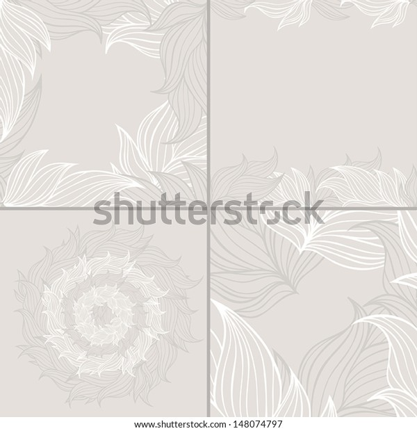 Set Four Seamless Floral Background Patterns Stock Vector Royalty