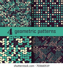 Set of four seamless geometric pattern with colored elements, vector abstract background, colorful geometric background