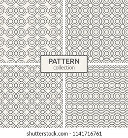 Set of four seamless patterns. Abstract geometric trendy vector outline backgrounds. Modern stylish textures of circles. Linear style. Modern ornamental motifs.