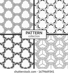 Set of four seamless patterns. Abstract geometric trendy vector backgrounds. Modern stylish textures. Geometric tiles with triple triple weaving elements, striped shapes. Vector monochrome backgrounds