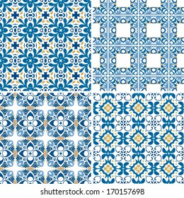 Set of four seamless patterns in blue and orange - like Portuguese tiles