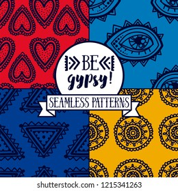 Set of four seamless patterns with ethnic or psychedelic symbols, pop art style palette, doodle vector illustration