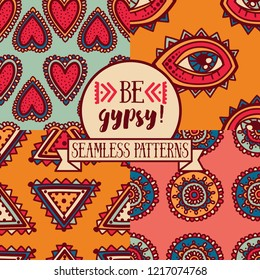 Set of four seamless patterns with ethnic or psychedelic symbols, doodle vector illustration