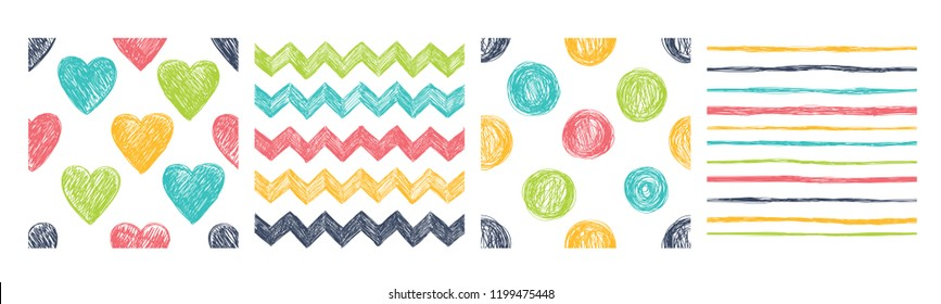 Set of four seamless patterns with hand drawn abstract elements