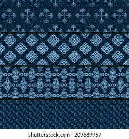 set of four seamless patterns on dark blue background (tiling).