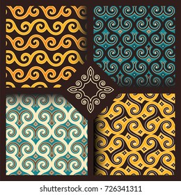 Set of four seamless patterns in vintage indonesian batik, islamic, japanese, arabic, eastern, oriental style for restaurant menu, flyer, business card, brochure, book cover, banner, etc.