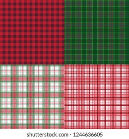 Set of four seamless plaid background patterns in Christmas and holiday colors