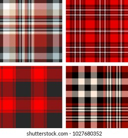 Set of four seamless tartan plaid patterns in  red, black and white.