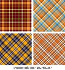 Set of four seamless tartan plaid patterns in orange color palette.