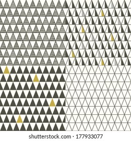 Set of four seamless triangle pattern, vector background