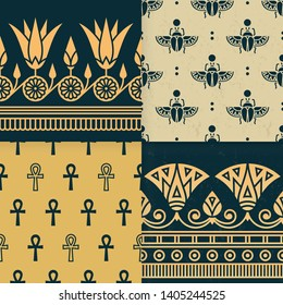 Set of four a seamless vector illustration of Egyptian national ornament with a lotus flower, scarab, ankh on the various background. Dark style.