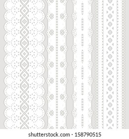 Set of four seamless white lace ribbon isolated on a gray background. Vector illustration