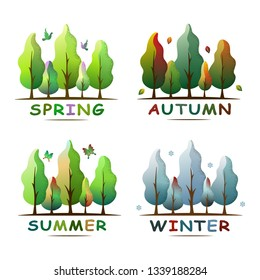 Set of four seasons forest landscape. Ecology concept. Spring, summer,  autumn and winter. For social media, web pages, banner, poster, education materials. Flat isolated vector illustration.