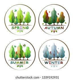 Set of four seasons forest landscape in circles. Ecology concept. Spring, summer,  autumn, winter. For social media, web pages, banner, poster, education materials. Flat isolated vector illustration.