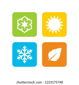 A set of four seasons icons. Winter, spring, summer and autumn. Seasons logo at white background