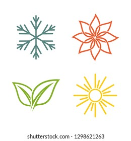 A set of four seasons icons. Winter, spring, summer and autumn. Seasons logo at white background - Vector