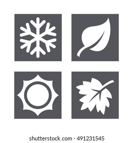 A set of four seasons icons. Winter, spring, summer and autumn.