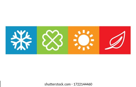 Set of four seasons (winter, spring, summer, autumn).