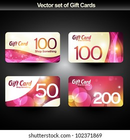 set of four shiny gift cards