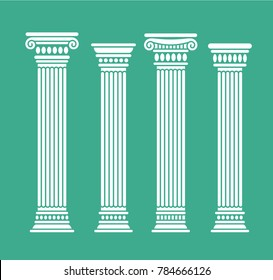 Set of four short rome and greece antique columns and pilars. Vector illustration, isolated, flat, white color.