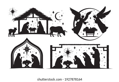 Set of four silhouetted nativity scenes for Christmas showing Joseph and Mary, Wise men and angels at the crib of the Christ child, black and white vector illustration