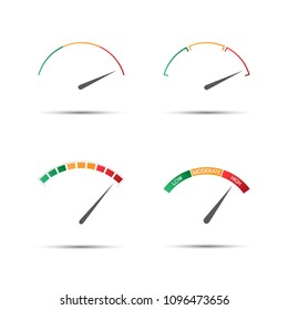 Set of four simple color tachometers (low, moderate, high), vector speedometer icon, performance measurement symbol isolated on white background