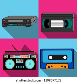A set of four simple flat style icons with a long shadow from old retro vintage hipster antique electronics, tape recorder, audio tape, video player and VCR VHS video tape. Vector illustration.