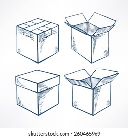 Set with four sketch boxes. open and closed boxes. hand-drawn illustration