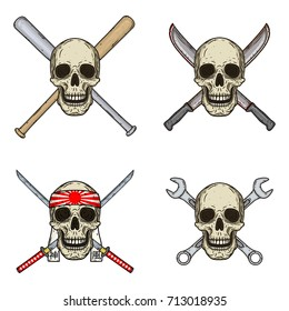 Set of four skulls with different objects. Skull with bats, wrenches, swords and machetes isolated on white background