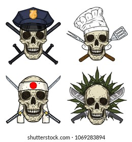 Set of four skulls, police man, chef, kamikaze and rastaman. Vector skull