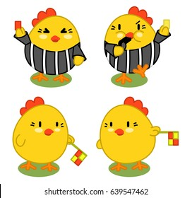 Set of four soccer roosters: referees and assistants (kawaii illustration)
