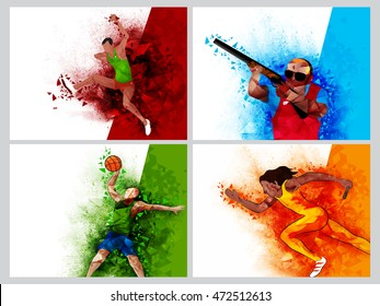 Set of four Sports Poster, Banner or Flyer design with illustration of Runner, Basketball Player and Shooting Player, Creative Abstract background with watercolor explosion and geometric pattern.
